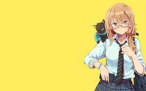 Rating: Safe Score: 52 Tags: animal brown_eyes brown_hair cat glasses kazenoko original phone school_uniform short_hair skirt tie wink yellow User: RyuZU