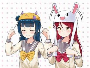 Rating: Safe Score: 26 Tags: 2girls animal_ears blue_hair blush bow bunny_ears ceph_(greatyazawa1819) di_gi_charat hat horns long_hair love_live!_school_idol_project love_live!_sunshine!! red_hair sakurauchi_riko school_uniform tsushima_yoshiko yellow_eyes User: otaku_emmy