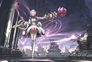 Rating: Safe Score: 74 Tags: armor braids breasts cameltoe cleavage clouds dress headdress len_brew original panties pink_eyes pink_hair robot scenic short_hair sky staff techgirl thighhighs underwear upskirt watermark User: BattlequeenYume
