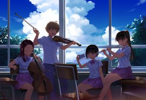 Rating: Safe Score: 32 Tags: aliasing blue_eyes bow brown_hair camera clouds green_eyes group instrument long_hair male original phone ponytail salt_(salty) school_uniform short_hair skirt sky violin User: RyuZU