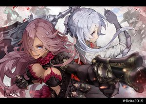 Rating: Safe Score: 42 Tags: 2girls breasts cinderella_(sinoalice) dark_skin gun hoshizaki_reita signed sinoalice snow_white_(sinoalice) sword watermark weapon User: FormX