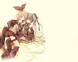 Rating: Safe Score: 19 Tags: hatsune_miku kagamine_rin twintails vocaloid white User: Shahid_MMIV