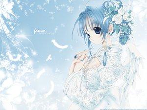 Rating: Safe Score: 25 Tags: animal bird blue_eyes blue_hair dress feathers flowers nanase_aoi petals User: Oyashiro-sama