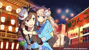 Rating: Safe Score: 40 Tags: aliasing blonde_hair blue_eyes festival fireworks japanese_clothes kaku-san-sei_million_arthur long_hair male mask misoni_comi square_enix yukata User: BattlequeenYume