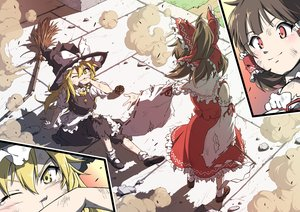 Rating: Safe Score: 20 Tags: 2girls apron blonde_hair bow brown_hair hakurei_reimu hat inuno_rakugaki japanese_clothes kirisame_marisa long_hair miko red_eyes shirt short_hair skirt socks touhou witch witch_hat yellow_eyes User: mattiasc02