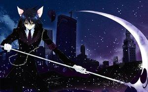 Rating: Safe Score: 112 Tags: animal_ears blue_hair building city peach-pit scythe short_hair shugo_chara snow tsukiyomi_ikuto weapon User: Zloan