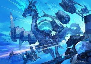 Rating: Safe Score: 51 Tags: blue clouds dragon mecha original polychromatic sky takayama_toshiaki watermark User: otaku_emmy