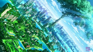 Rating: Safe Score: 61 Tags: building city clouds landscape nobody original ruins scenic sky tokyogenso tree water watermark User: RyuZU