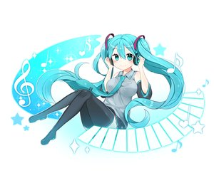 Rating: Safe Score: 44 Tags: aqua_eyes aqua_hair breasts hatsune_miku headphones long_hair music twintails vocaloid User: luckyluna