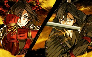 Rating: Safe Score: 76 Tags: g_yuusuke game_cg kajiri_kamui_kagura kujou_shiori mibu_soujirou sword weapon User: Wiresetc