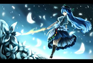 Rating: Safe Score: 49 Tags: blue_hair boots dress flowers hat hinanawi_tenshi long_hair night petals red_eyes sky sword touhou weapon User: Tensa