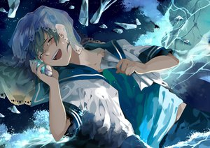 Rating: Safe Score: 26 Tags: all_male blue_hair kyouichi male original school_uniform tears water User: STORM
