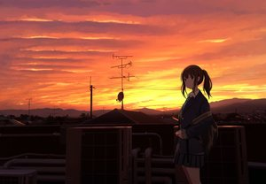 Rating: Safe Score: 92 Tags: building city original rooftop sakeharasu scenic school_uniform silhouette sunset User: RyuZU