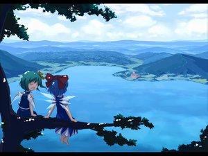 Rating: Safe Score: 66 Tags: 2girls barefoot blue_hair cirno clouds daiyousei dress fairy green_hair landscape ribbons scenic short_hair sky touhou tree tsuyuki_(yukitgraph) water wings User: w7382001