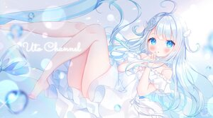 Rating: Safe Score: 62 Tags: amatsuka_uto aqua_eyes barefoot blush dress gray_hair long_hair omochi_monaka User: BattlequeenYume