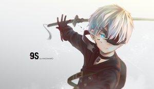 Rating: Safe Score: 57 Tags: all_male aqua_eyes gloves gray gray_hair katana male mazumaro necklace nier nier:_automata short_hair sword weapon yorha_unit_no._9_type_s User: RyuZU