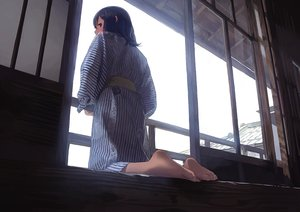 Rating: Safe Score: 53 Tags: barefoot blue_hair japanese_clothes morifumi original purple_eyes short_hair yukata User: RyuZU