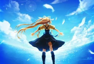 Rating: Safe Score: 84 Tags: air blonde_hair clouds dress feathers kamio_misuzu kneehighs long_hair momopanda sky water User: FormX