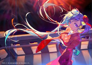 Rating: Safe Score: 17 Tags: blue_eyes blue_hair breast_hold hatsune_miku japanese_clothes kimono long_hair twintails vocaloid wolfour wristwear User: FormX