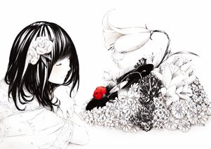 Rating: Safe Score: 168 Tags: black_hair flowers original polychromatic rose sousou_(sousouworks) User: opai