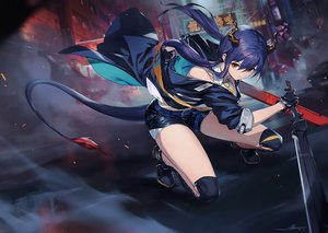 Rating: Safe Score: 55 Tags: alov arknights building car ch'en_(arknights) city garter_belt gloves horns long_hair open_shirt purple_hair red_eyes shorts signed sword tail tie weapon User: BattlequeenYume