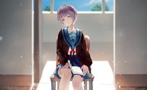 Rating: Safe Score: 126 Tags: blush book bow brown_eyes cropped kamachi_kamachi-ko nagato_yuki purple_hair ribbons school_uniform short_hair skirt suzumiya_haruhi_no_yuutsu User: kokiriloz