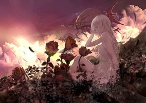 Rating: Safe Score: 97 Tags: airship blonde_hair ciavis0339 clouds dress flowers long_hair original sunset yellow_eyes User: sadodere-chan
