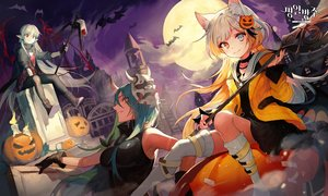 Rating: Safe Score: 54 Tags: animal animal_ears arknights bat bicolored_eyes blood boots gloves halloween horns hoshiguma_(arknights) logo long_hair mask moon night nightmare_(arknights) pantyhose pointed_ears pumpkin soyoong_jun thighhighs vampire warfarin_(arknights) weapon wings User: Dreista