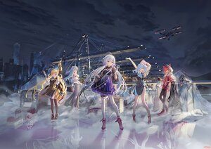Rating: Safe Score: 64 Tags: animal_ears atdan blonde_hair building cangqiong chiyu_(synthv) city dress gray_hair group haiyi industrial long_hair microphone night red_eyes red_hair reflection shian_(synthv) signed sky stars synthesizer_v thighhighs twintails vocaloid wink xingchen User: BattlequeenYume