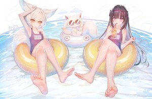 Rating: Safe Score: 84 Tags: 2girls akemi_homura animal_ears barefoot blush drink jpeg_artifacts kyuubee long_hair mahou_shoujo_madoka_magica purple_eyes school_swimsuit suerte swim_ring swimsuit water watermark white_hair yellow_eyes User: BattlequeenYume