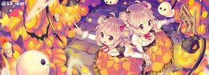Rating: Safe Score: 39 Tags: 2girls animal bat blonde_hair halloween ikari_(aor3507) original pumpkin twins watermark User: BattlequeenYume