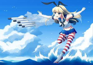 Rating: Safe Score: 14 Tags: aliasing anthropomorphism blonde_hair brown_eyes clouds elbow_gloves gloves kantai_collection school_uniform shimakaze_(kancolle) skirt sky thighhighs vicgt005 water weapon User: RyuZU