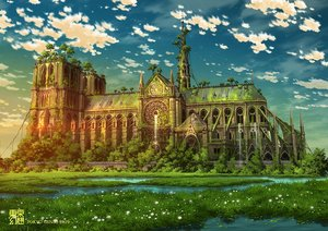 Rating: Safe Score: 99 Tags: building clouds grass original ruins scenic sky tokyogenso tree water waterfall watermark User: RyuZU