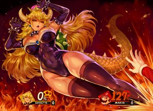 Rating: Safe Score: 81 Tags: blonde_hair bodysuit bowsette breasts cameltoe choker cleavage crown elbow_gloves fire gloves horns kick long_hair male mario navel pointed_ears red_eyes skintight super_mario_bros super_smash_bros. tail thighhighs whistlerx wristwear User: otaku_emmy