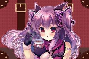 Rating: Safe Score: 60 Tags: animal blush catgirl drink elbow_gloves long_hair mizuki_yuuma original pink_hair red_eyes ribbons twintails User: Flandre93