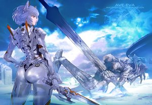 Rating: Safe Score: 90 Tags: armor ass ayanami_rei blue_hair bodysuit clouds maeshima_shigeki mecha neon_genesis_evangelion pink_eyes ruins short_hair skintight sky sword weapon User: BattlequeenYume