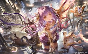 Rating: Safe Score: 70 Tags: choker feathers industrial liiko long_hair orange_eyes purple_hair ribbons robot scarf shadowverse tagme_(character) thighhighs water watermark weapon zettai_ryouiki User: BattlequeenYume