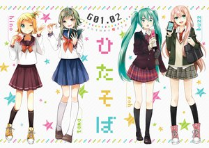 Rating: Safe Score: 95 Tags: book buzz glasses gumi hatsune_miku hino_(moca) kagamine_rin kuwahara_souta megurine_luka phone seifuku tama_(songe) vocaloid User: MissBMoon