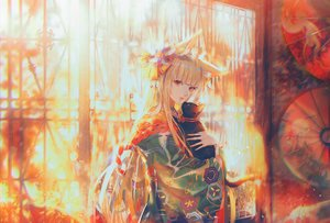 Rating: Safe Score: 91 Tags: animal animal_ears blonde_hair cat foxgirl izumi_(sdorica) japanese_clothes kimono long_hair orange_eyes say_hana sdorica_-sunset- umbrella User: RyuZU