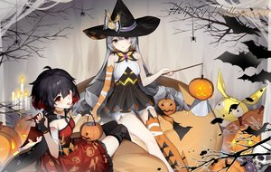 Rating: Safe Score: 58 Tags: black_hair bronya_zaychik cape dress gloves gray_eyes gray_hair halloween hat honkai_impact kuo_(kuo114514) long_hair pumpkin red_eyes seele_vollerei stockings thighhighs veliona wings witch_hat User: BattlequeenYume