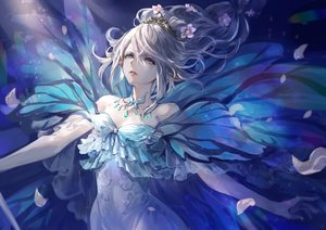 Rating: Safe Score: 112 Tags: blue_eyes cape dress final_fantasy final_fantasy_xiv flowers long_hair necklace petals pointed_ears ponytail senano-yu tiara titania_(final_fantasy) white_hair User: BattlequeenYume