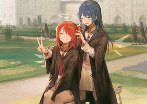 Rating: Safe Score: 40 Tags: aqua_eyes arknights blue_hair exusiai_(arknights) halo hoodie huanxiang_heitu long_hair mostima_(arknights) ponytail red_hair school_uniform wings User: Nepcoheart