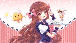 Rating: Safe Score: 26 Tags: blush bow brown_hair cake cherry food fruit ice_cream long_hair maid natsumii_chan original red_eyes watermark wristwear User: otaku_emmy