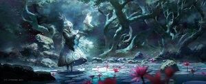 Rating: Safe Score: 173 Tags: animal bird blue dark dress dualscreen flowers flute headdress instrument lost_elle original petals pixiv_fantasia polychromatic signed tree water User: mattiasc02
