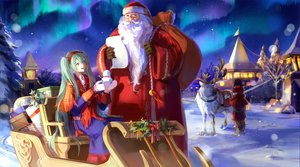 Rating: Safe Score: 13 Tags: animal aqua_eyes aqua_hair building christmas dress glasses gloves hat hatsune_miku horns kirayoci long_hair male night paper santa_claus santa_costume santa_hat snow snowman stars vocaloid white_hair winter User: RyuZU