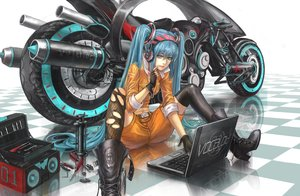 Rating: Safe Score: 208 Tags: aqua_eyes aqua_hair boots gloves hatsune_miku headphones infukun long_hair motorcycle thighhighs torn_clothes twintails vocaloid User: Flandre93