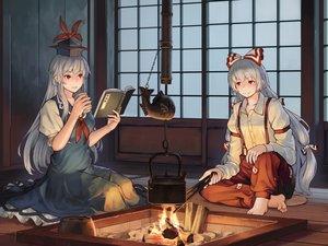 Rating: Safe Score: 32 Tags: 2girls barefoot book dress fire fujiwara_no_mokou kamishirasawa_keine long_hair mikado_(winters) ofuda touhou white_hair User: RyuZU