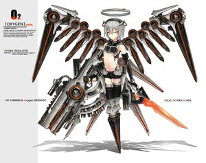 Rating: Safe Score: 253 Tags: anthropomorphism gia gray_hair gun halo orange_eyes original short_hair sword weapon white wings User: HawthorneKitty