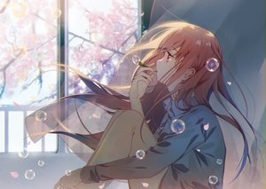 Rating: Safe Score: 79 Tags: brown_hair bubbles cherry_blossoms flowers long_hair omutatsu original pink_eyes shirt User: FormX