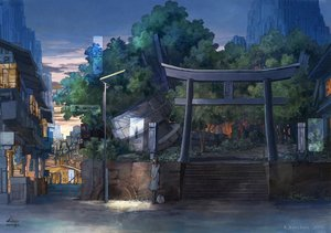 Rating: Safe Score: 36 Tags: building city k_kanehira original scenic shrine torii tree watermark User: FormX
